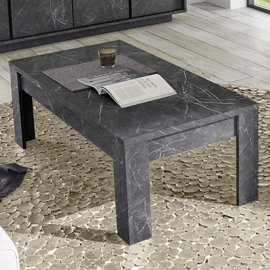 Corvi Wooden Coffee Table In Black Marble Effect