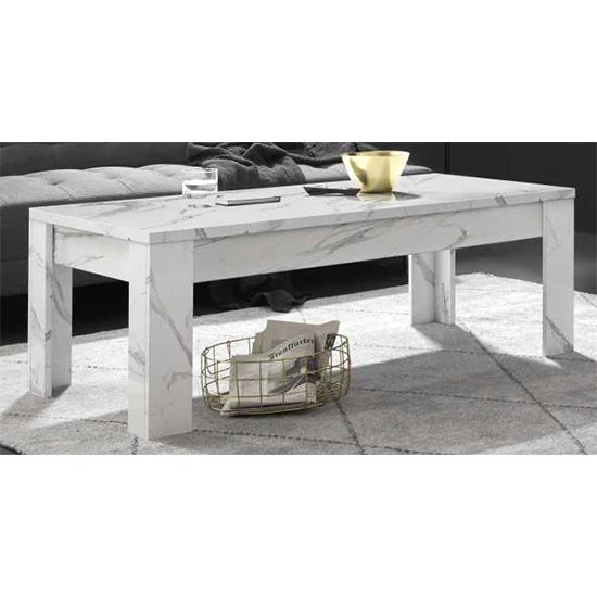 Corvi Wooden Coffee Table In White Marble Effect