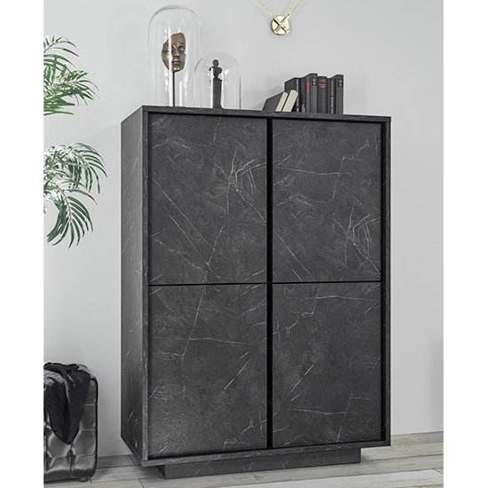 Corvi Wooden Highboard In Black Marble Effect With 4 Doors
