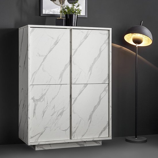 Corvi Wooden Highboard In White Marble Effect With 4 Doors