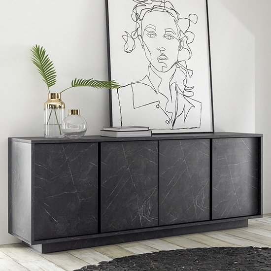 Corvi Wooden Sideboard In Black Marble Effect With 4 Doors