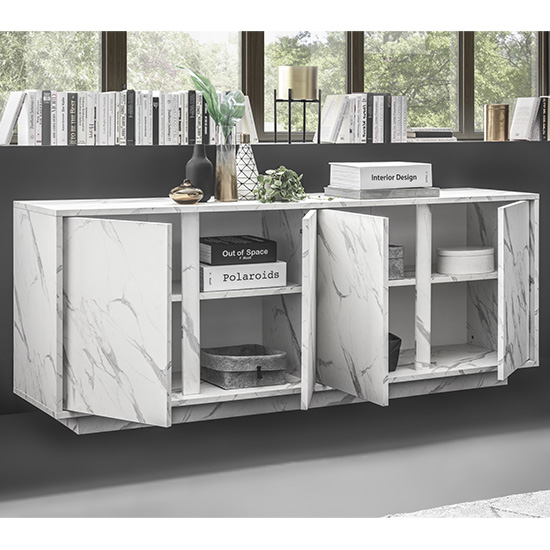 Corvi Wooden Sideboard In White Marble Effect With 4 Doors_2
