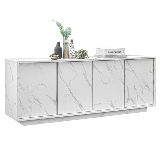 Corvi Wooden Sideboard In White Marble Effect With 4 Doors_4