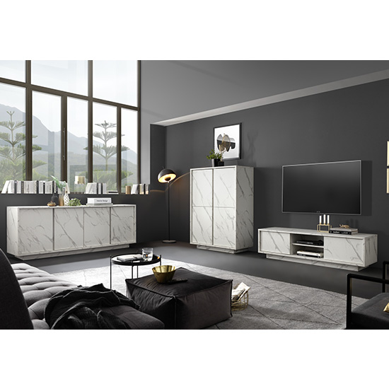Corvi Wooden Sideboard In White Marble Effect With 4 Doors_5
