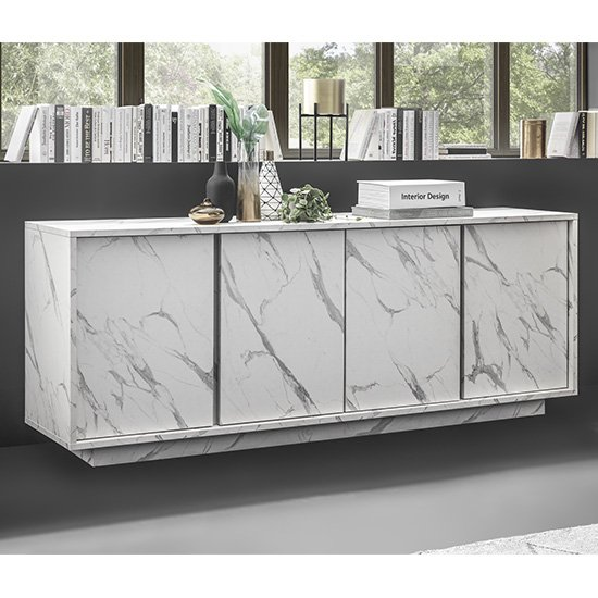 Corvi Wooden Sideboard In White Marble Effect With 4 Doors