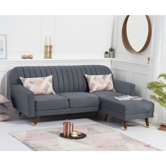 Corwin Linen Sofa Bed In Grey With Angled Solid Wood Feet_1