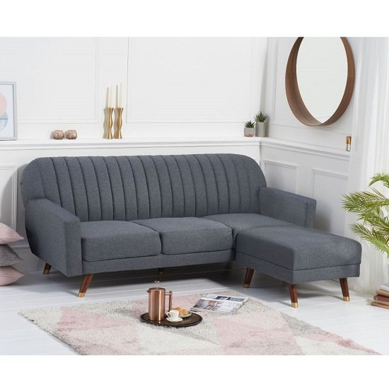 Corwin Linen Sofa Bed In Grey With Angled Solid Wood Feet_2