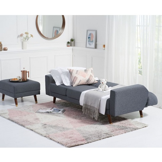 Corwin Linen Sofa Bed In Grey With Angled Solid Wood Feet_3