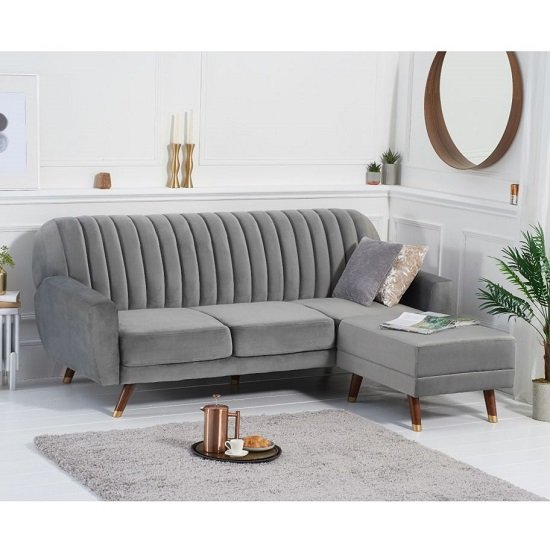 Carwin Velvet Sofa Bed In Grey With Angled Solid Wood Feet_1