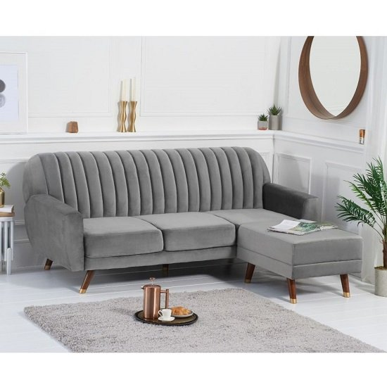 Carwin Velvet Sofa Bed In Grey With Angled Solid Wood Feet_2