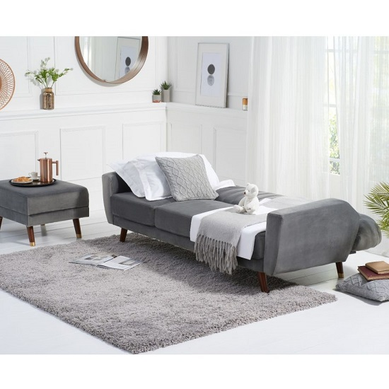 Carwin Velvet Sofa Bed In Grey With Angled Solid Wood Feet_3