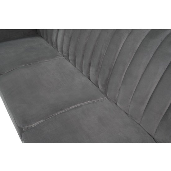 Carwin Velvet Sofa Bed In Grey With Angled Solid Wood Feet_6