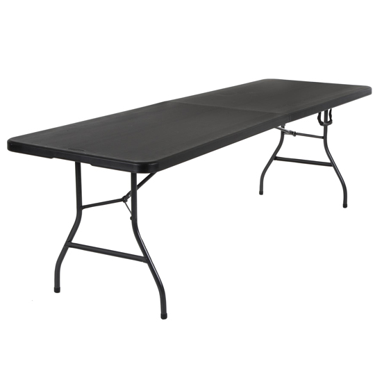 Cosco Large Fold-In-Half Molded Resin Top Dining Table In Black