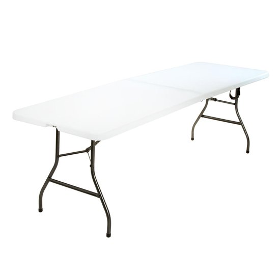Cosco Large Fold-In-Half Molded Resin Top Dining Table In White
