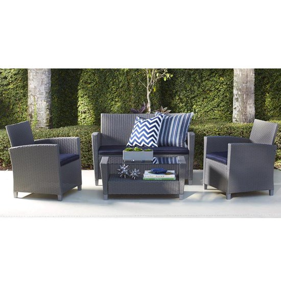 Cosco Malmo Outdoor Seating Set In Grey With Navy Cushions