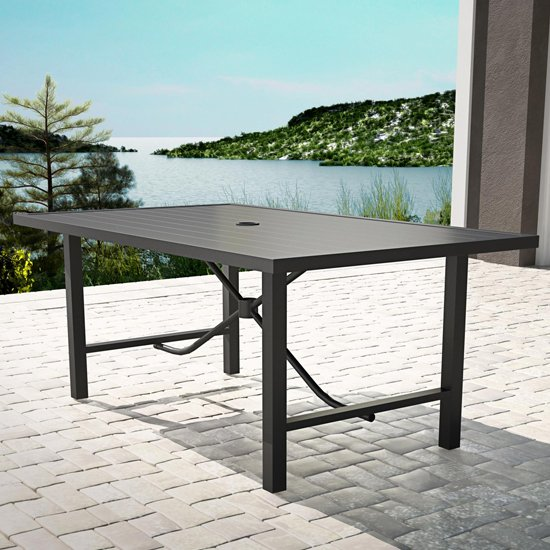 Cosco Outdoor Paloma Metal Dining Table In Charcoal Grey