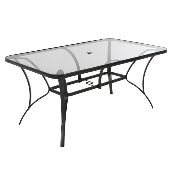 Cosco Outdoor Paloma Glass Dining Table In Dark Grey