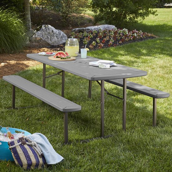 Cosco Outdoor Wooden Picnic Dining Set In Dark Grey