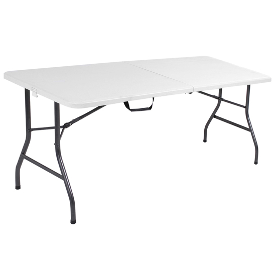 Cosco Small Fold-In-Half Molded Resin Top Dining Table In White