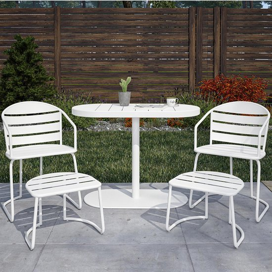 View Cosco steel set of 5 patio bistro set in white