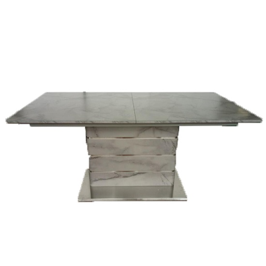 Cosima Wooden Dining Table In Grey Marble Effect