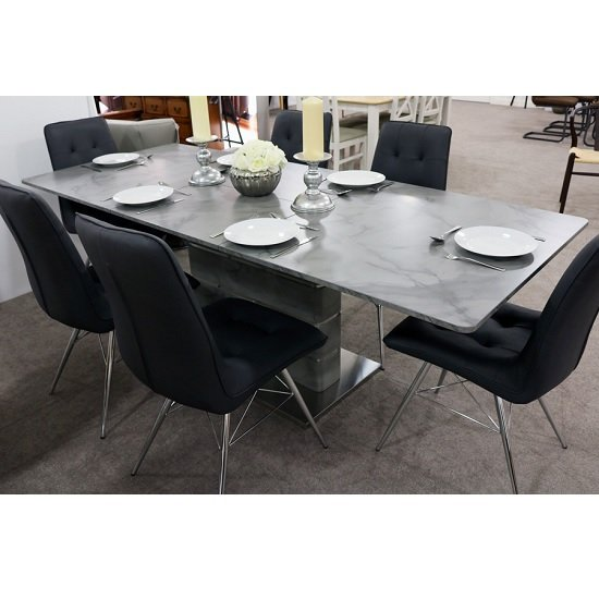 Cosima Extendable Dining Table Grey Marble Effect And 6 Chairs
