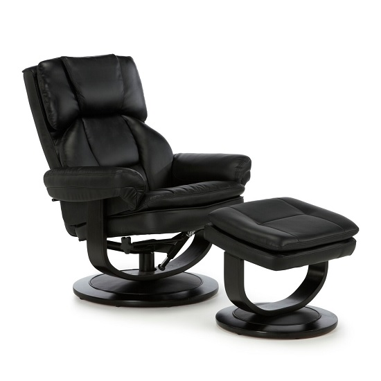 Prime Cosimo Recliner Chair In Black Bonded Leather With Footstool Pdpeps Interior Chair Design Pdpepsorg