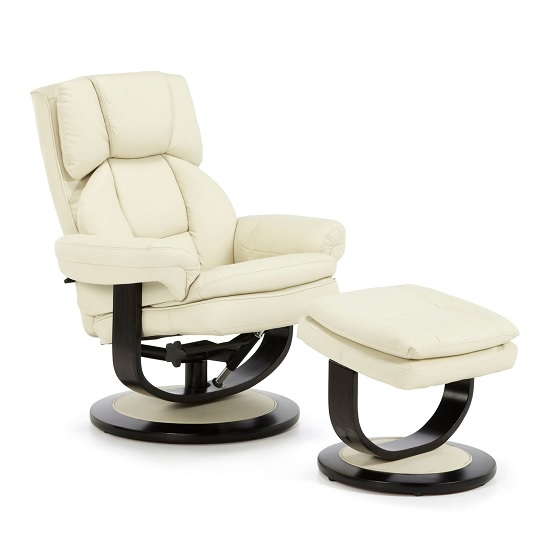 Cosimo Recliner Chair In Cream Bonded Leather With Footstool