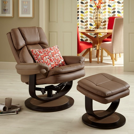 Cosimo Recliner Chair In Latte Bonded Leather With Footstool