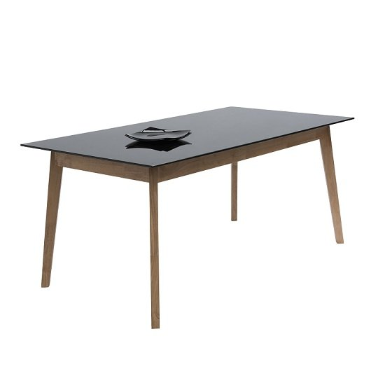Cosmo Rectanuglar Glass Dining Table In Black With Wooden Legs