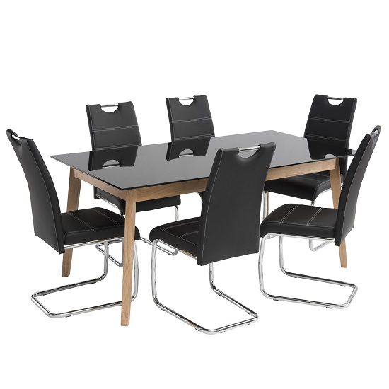 Cosmo Glass Dining Table In Black With 6 Jake Black Chairs