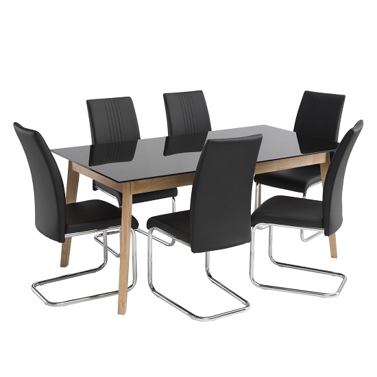 jet small black glass dining table and 4 black dining chairs features
