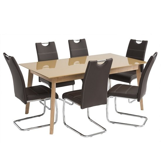 Cosmo Glass Dining Table In Carmel With 6 Jake Brown Chairs