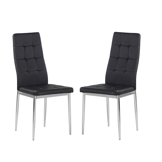 Cosmo Dining Chair In Black Faux Leather in A Pair