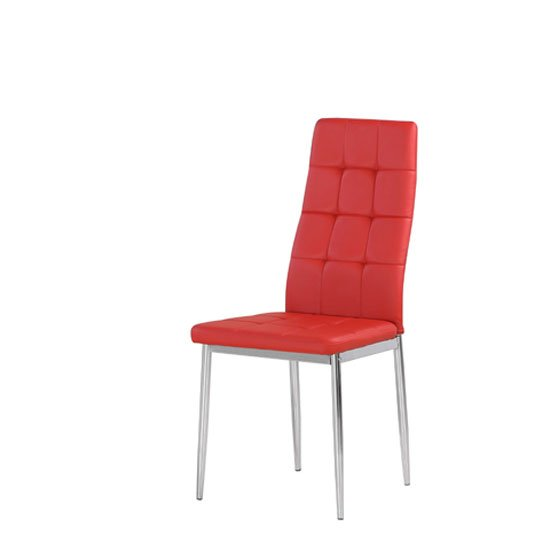 Cosmo Dining Chair In Red Faux Leather With Chrome Legs