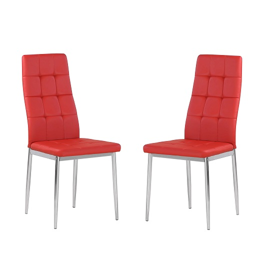Cosmo Dining Chair In Red Faux Leather in A Pair