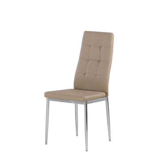 Cosmo Dining Chair In Taupe Faux Leather With Chrome Legs
