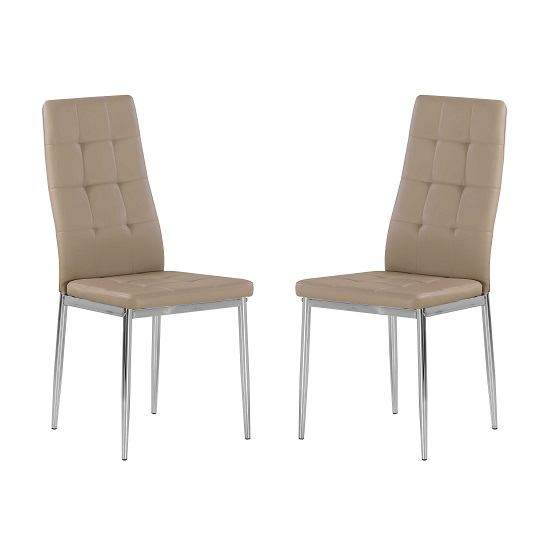 Cosmo Dining Chair In Taupe Faux Leather in A Pair
