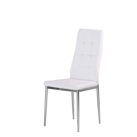 Cosmo Dining Chair In White Faux Leather With Chrome Legs