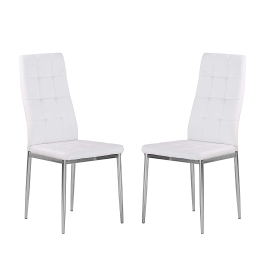 Cosmo Dining Chair In White Faux Leather in A Pair