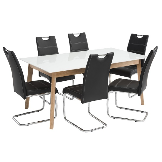 Cosmo Glass Dining Table In White With 6 Jake Black Chairs