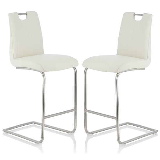 Cosmos Bar Stool In White Faux Leather In A Pair