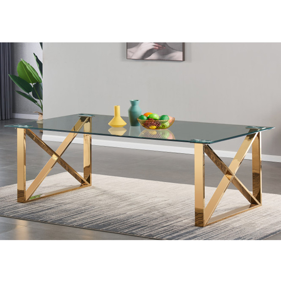 View Costa large glass dining table with gold stainless steel legs