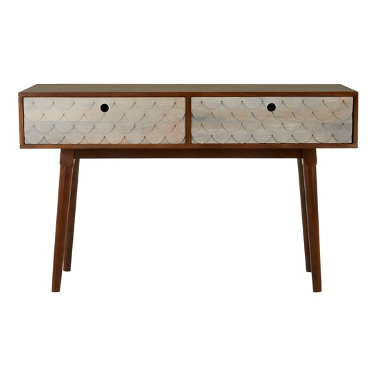 Beemim Mango Wood Console Table In Natural Artdeco Pattern