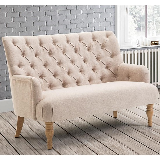 Product photograph showing Cotham 2 Seater Sofa In Wheat Fabric With Wooden Legs