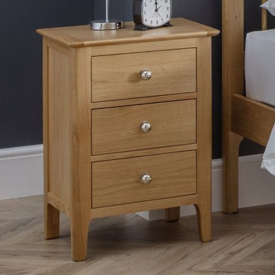 Cotswold Bedside Cabinet In Oak With 3 Drawers
