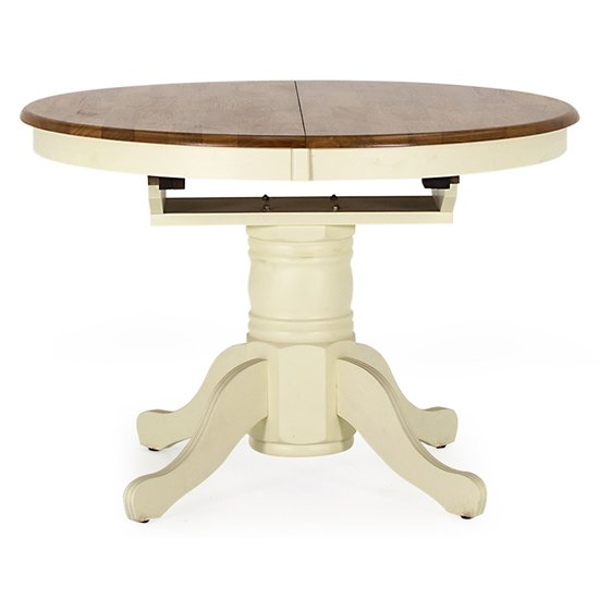 Cotswold Extending Round Dining Table In Dark Oak And Ivory