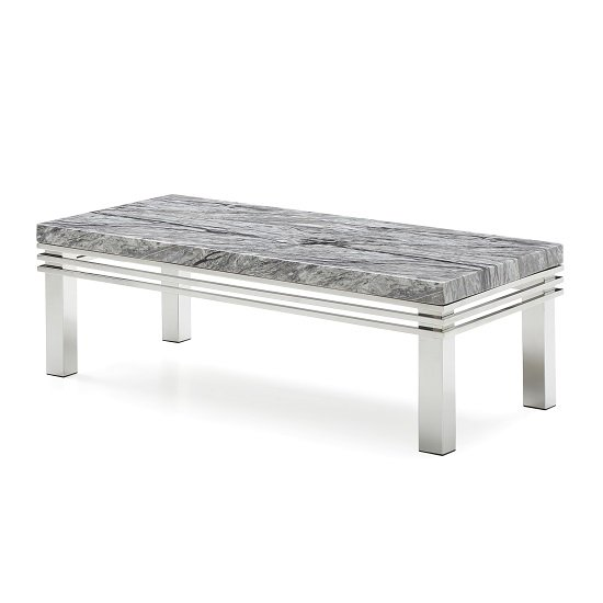 Marble Coffee Table With Metal Legs: Cotswold Marble Top Coffee Table In Grey With Steel Legs