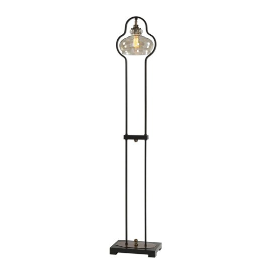 Cotulla Black Floor Lamp With Antique Brass Details