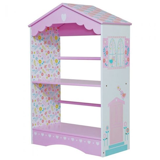 Country Cottage Kids Bookcase In Pink And White